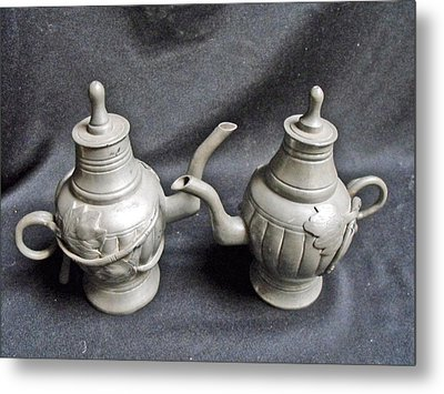 Pair Of Decorated Pewter Teapots Metal Print by Anonymous