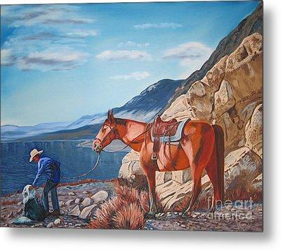 Paiute Boy At Walker Lake Metal Print by Joseph Juvenal