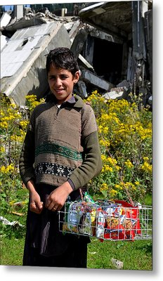 Metal Print featuring the photograph Pakistani Boy In Front Of Hotel Ruins In Swat Valley by Imran Ahmed