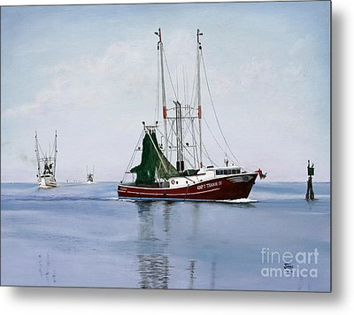 Metal Print featuring the painting Palacios Boats by Jimmie Bartlett