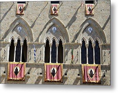 Palazzo Salimbeni With Flags Metal Print by Sami Sarkis