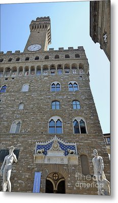 Palazzo Vecchio With Statues Metal Print by Sami Sarkis