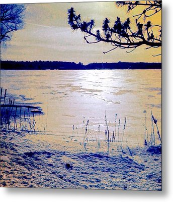 Pale Apricot Light Over Lake Ice - Square Metal Print
