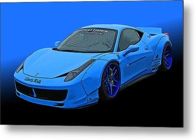 Pale Blue Ferrari 458 Italia Metal Print by Samuel Sheats