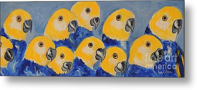 Metal Print featuring the painting Pale Head Parrots by Lyn Olsen