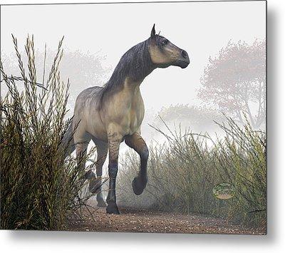 Pale Horse In The Mist Metal Print by Daniel Eskridge