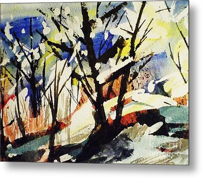 Palenville Winter Abstract - Catskills Metal Print by Ellen Levinson