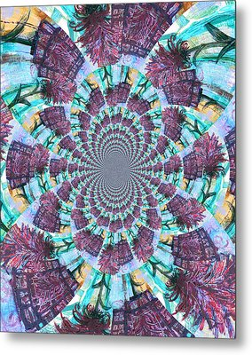 Palette Knife Flowers Kaleidoscope Mandela Metal Print by Genevieve Esson