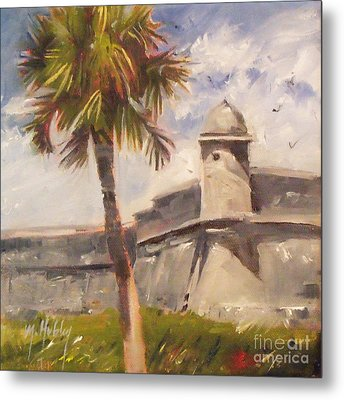 Palm At St. Augustine Castillo Fort Metal Print by Mary Hubley