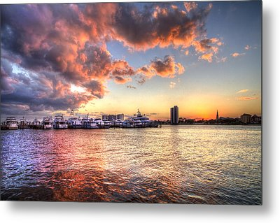 Palm Beach Harbor With West Palm Beach Skyline Metal Print by Debra and Dave Vanderlaan