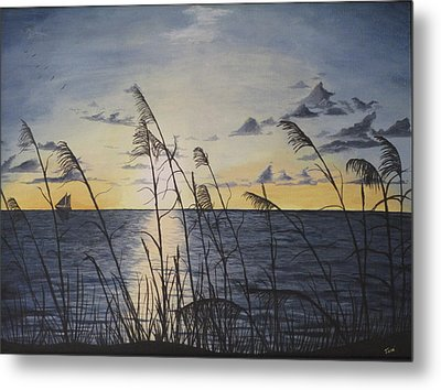 Metal Print featuring the painting Palm Beach Sunrise by Hilda and Jose Garrancho