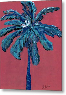Palm On Pink  Metal Print by Oscar Penalber