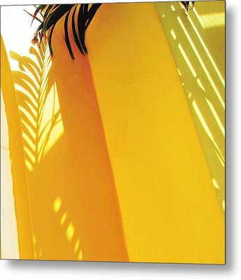 Palm Shadow On Yellow Wall - Square Metal Print