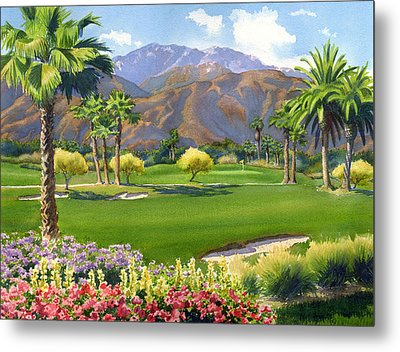 Palm Springs Golf Course With Mt San Jacinto Metal Print