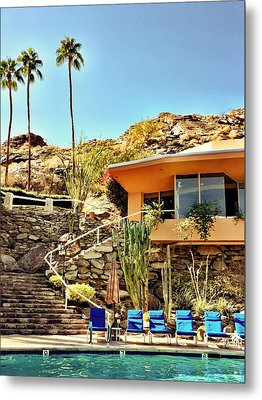 Palm Springs Pool Metal Print by Julie Gebhardt