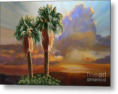 Metal Print featuring the painting Palm Tree Cabo Sunset by Tim Gilliland