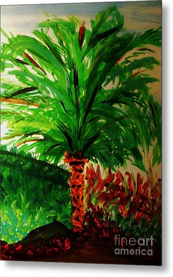 Palm Tree In The Garden Metal Print by Marie Bulger