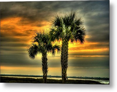 Palm Tree Sunrise Metal Print