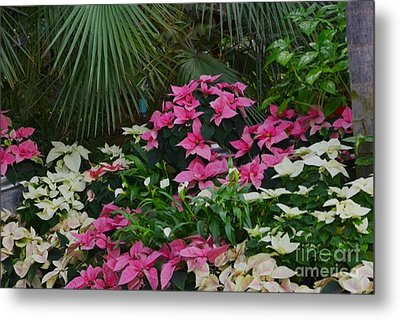 Palm Trees And Flowers Metal Print