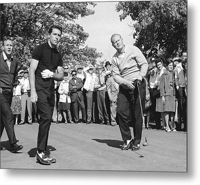 Palmer, Player And Nicklaus Metal Print by Underwood Archives