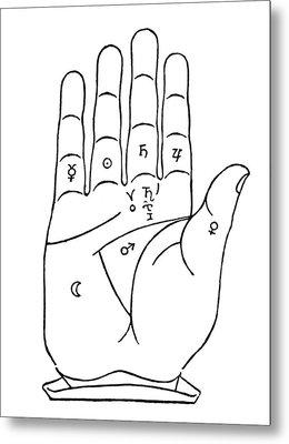 Palmistry Chart, 1480 Metal Print