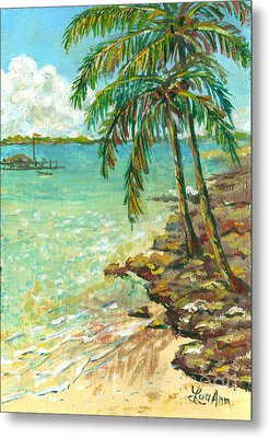 Palms On Point Of Rocks Metal Print