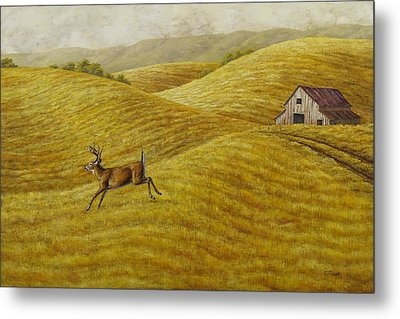 Palouse Farm Whitetail Deer Metal Print