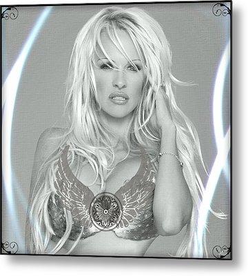 Pamela Anderson - Angel Rays Of Light Metal Print by Absinthe Art By Michelle LeAnn Scott