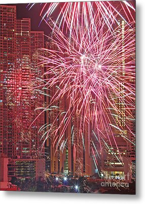 Panama Fireworks Metal Print by Bob Hislop