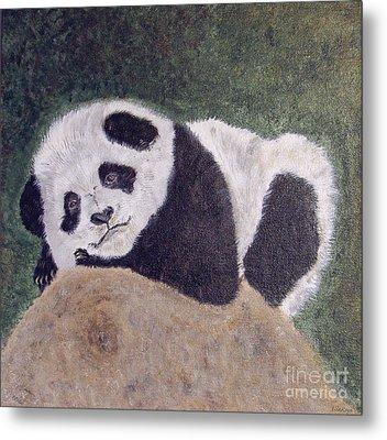 Panda Bear Sleepy Baby Cub Metal Print by Ella Kaye Dickey