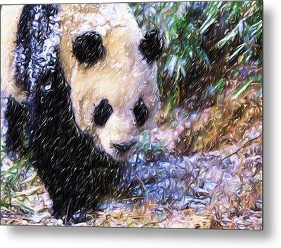 Panda Bear Walking In Forest Metal Print by Lanjee Chee