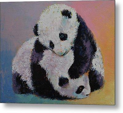 Baby Panda Rumble Metal Print by Michael Creese