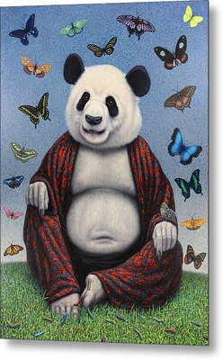 Panda Buddha Metal Print by James W Johnson
