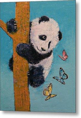 Panda Butterflies Metal Print by Michael Creese