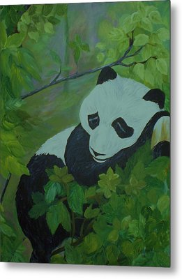 Metal Print featuring the painting Panda by Christy Saunders Church
