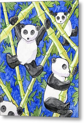 Panda Cubs Metal Print