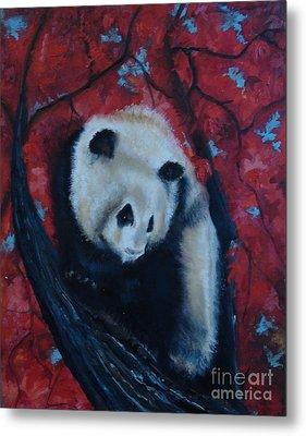 Panda Metal Print by Donna Chaasadah
