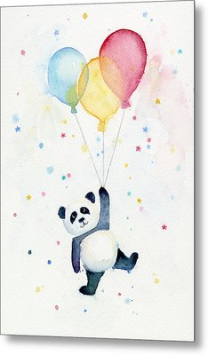 Panda Floating With Balloons Metal Print by Olga Shvartsur
