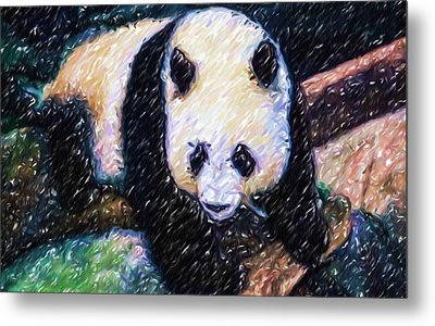 Panda In The Rest Metal Print by Lanjee Chee