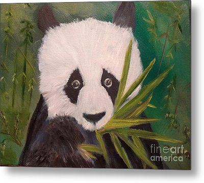 Metal Print featuring the painting Panda by Jenny Lee