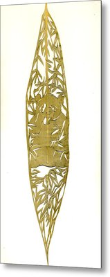 Panda On A Bamboo Leaf Metal Print by Alfred Ng