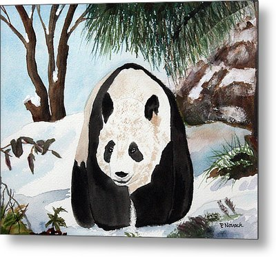 Panda On Ice Metal Print by Patricia Novack