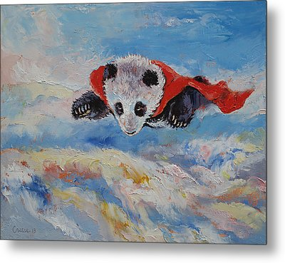 Panda Superhero Metal Print by Michael Creese