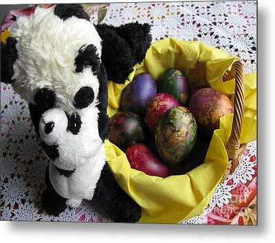 Pandas Celebrating Easter Metal Print by Ausra Huntington nee Paulauskaite