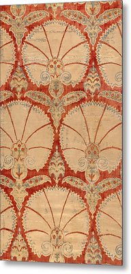 Panel Of Red Cut Velvet With Carnation Metal Print by Turkish School