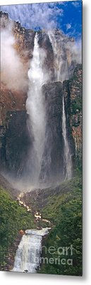 Panorama Angel Falls In Canaima National Park Venezuela Metal Print