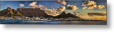 Panorama Cape Town Harbour At Sunset Metal Print by David Smith