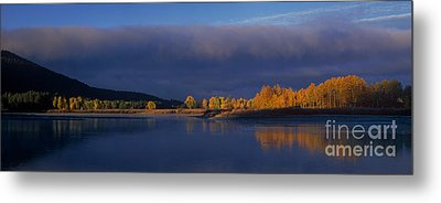 Metal Print featuring the photograph Panorama Clearing Storm Oxbow Bend Grand Tetons National Park Wyoming by Dave Welling