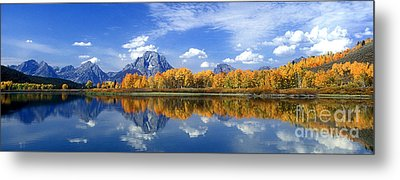 Panorama Fall Morning At Oxbow Bend Grand Tetons National Park Metal Print