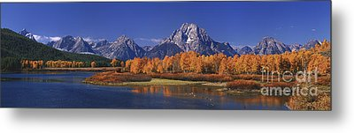 Metal Print featuring the photograph Panorama Fall Morning Oxbow Bend Grand Tetons National Park Wyoming by Dave Welling